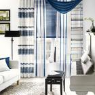 Gardinenkombination blau/weiß