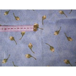 Patchworkstoff grau blau meliert mit Blumen