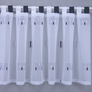 Schlaufengardinenstoff mit Shirley-Muster in schwarz silber ecru 50cm hoch per Meter