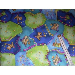 gemusterter Baumwollstoff grün türkis blau mit Bären, Hasen und weiteren Tieren