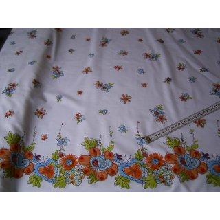Baumwollstoff weiß mit verschiedenfarbigen Blümchen und Blumenbordüre
