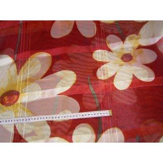 Organzastoff Gardinenstoff Karo rot mit Blumen in gelb