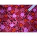 Baumwollstoff rosa pink kariert mit Blumen und Mustern