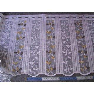 Scheibengardine nähfrei 46cm hoch weiß mit farbigen Ranken