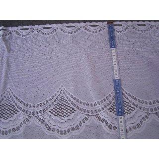 Scheibengardine 76cm hoch weiß mit Muster