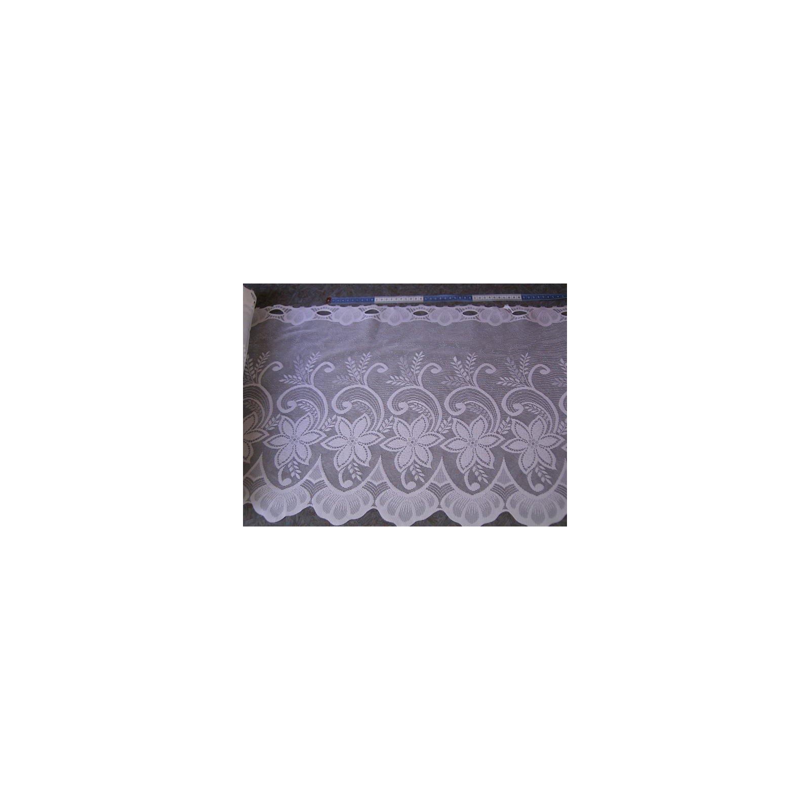 scheibengardine 45cm hoch wei mit blumen raumausstatter. Black Bedroom Furniture Sets. Home Design Ideas