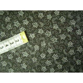 Baumwoll Patchworkstoff schwarz mit weißen Blumen