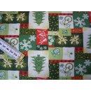 Weihnachtsstoff Baumwollstoff natur rot grün mit...