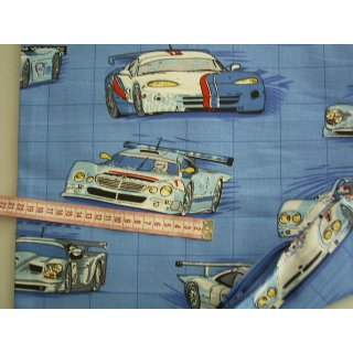 Kissenbezug blau mit Rennautos 40 x 40cm Stoffe