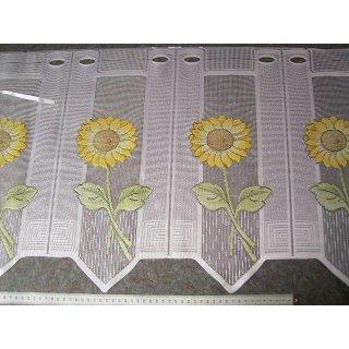 scheibengardine n hfrei wei mit gelben sonnenblumen 45cm. Black Bedroom Furniture Sets. Home Design Ideas