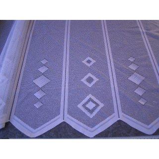Scheibengardine nähfrei 60cm hoch weiß Muster in weiß