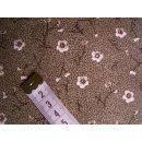 Jeansstoff beige-braun meliert mit Blumen