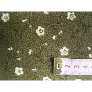 Jeansstoff grün meliert mit Blumen