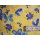 Baumwoll Stoff gelb Schmetterlinge blau