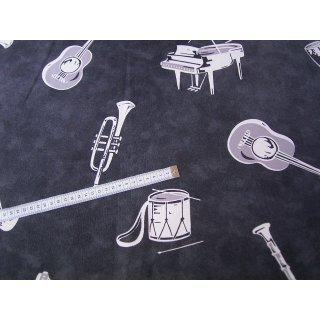 Baumwollstoff schwarz grau meliert mit Musikinstrumente 280cm breit