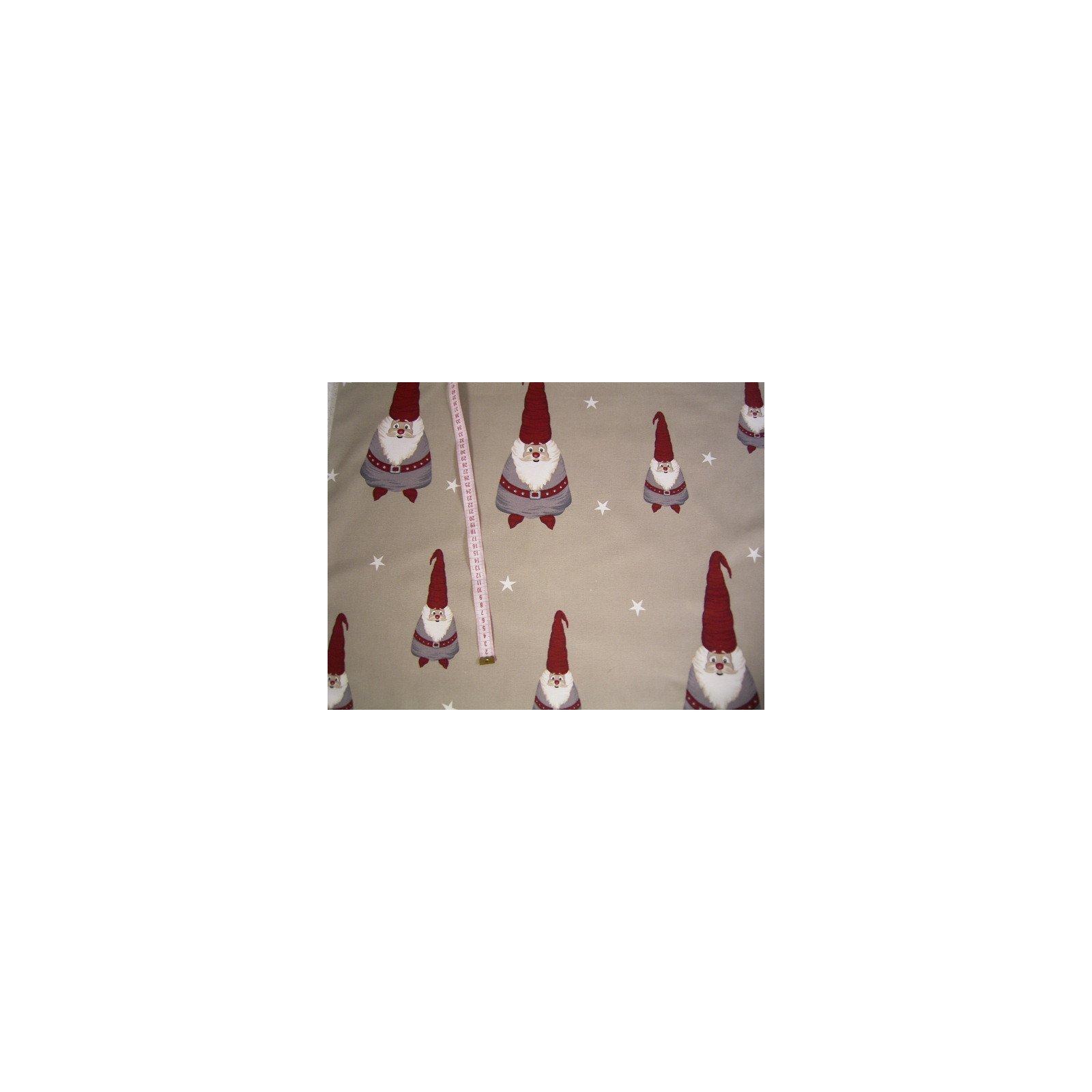 Weihnachts stoff beige mit wichtel sterne 140cm breit for Weihnachts scheibengardinen