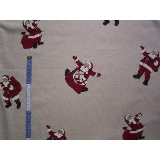 Weihnachtsstoff Dekostoff natur mit Weihnachtsmann