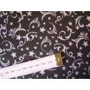 Weihnachtsstoff Baumwollstoff schwarz Muster in silber