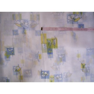 Diolen Gardinenstoff weiß mit gelbe und blaue Blumen und Muster