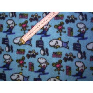 Fleecestoff hellblau mit Fische Mäuse und Schrift