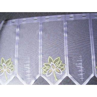 Scheibengardine nähfrei weiß mit grünen Blumen 50cm