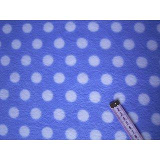 Hellblauer Fleecestoff mit weißen Punkten