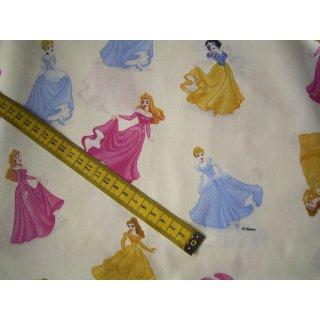 Natur-farbener Baumwollstoff mit Prinzessinen in gelben, pinken und hellblauen Kleidern