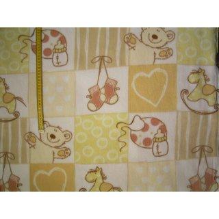 Fleecestoff weiß gelb kariert im Karo mit Muster und Motive
