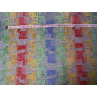 Organzastoff rohweiß mit grün gelb rot und blau längs gestreift mit Muster