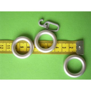 System Ø 12mm Kunststoff-Ring chrom matt mit Faltenlegehaken