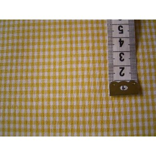 Baumwollstoff gelb weiß kariert ca.2mm